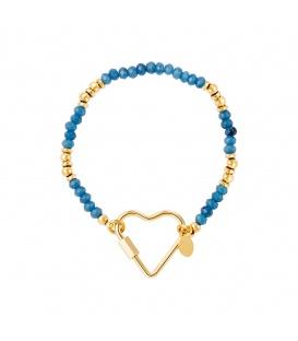 Goudkleurige armband met blauwe steentjes en grote hartvormige sluiting
