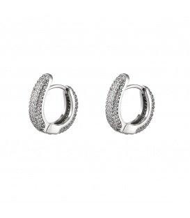 Zilverkleurige ronde oorbellen versierd met zirkoonsteentjes