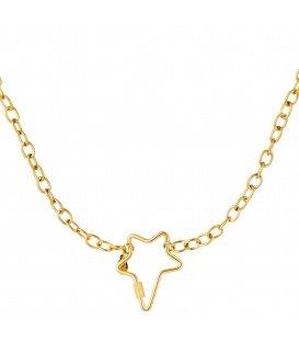 Goudkleurige halsketting met grote stervormige sluiting