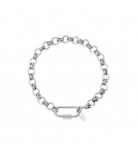 Zilverkleurige armband met rechthoekige sluiting