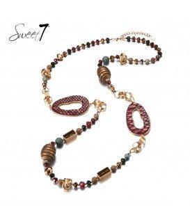 Gekleurde lange halsketting met mooie elementen
