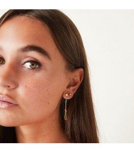 Goudkleurige oorhangers met gekleurde bolletjes