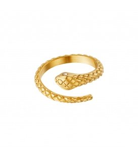 Goudkleurige slangenring met structuur en zirkoonsteentje als oog