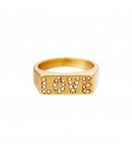 Goudkleurige ring met het woord love van zirkoonsteentjes (18)