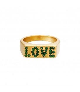 Goudkleurige ring met het woord love van groene zirkoonsteentjes (16)