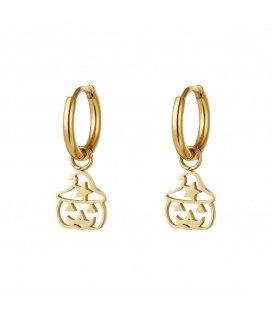 Goudkleurige oorbellen met een kleine open pompoen