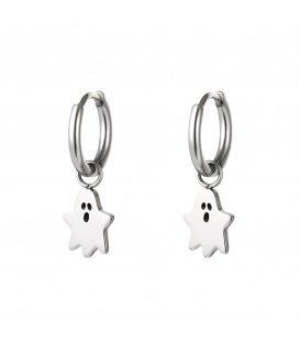Zilverkleurige oorbellen met een spook
