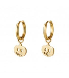 Goudkleurige oorbellen met een pompoen