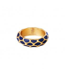 Goudkleurige ring met blauw giraf patroon (18)