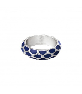 Zilverkleurige ring met blauw giraf patroon (16)
