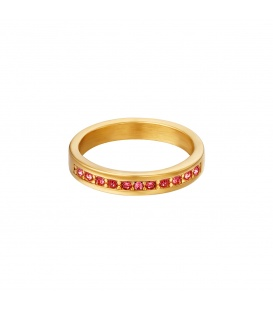 Goudkleurige ring met kleine rode ronde zirkoonsteentjes (17)