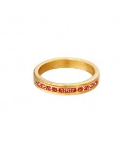 Goudkleurige ring met kleine rode ronde zirkoonsteentjes (18)
