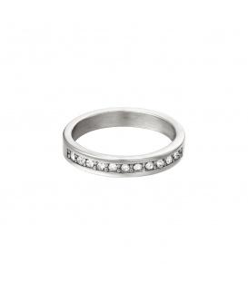 Zilverkleurige ring met kleine witte ronde zirkoonsteentjes (18)