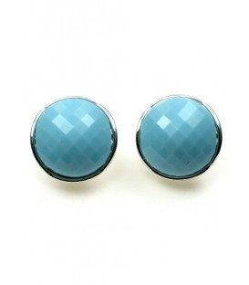 Blauwe clip oorbellen met zilverkleurige zetting en facet kraal