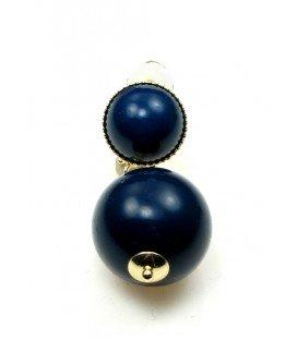Oorclips met donkerblauw bolvormige hanger