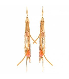Lange oorbellen met bruine, oranje glaskralen en goud en zilverkleurige strengen
