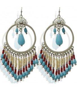 Blauwe ronde oorbellen met mooie blauwe en rode kralen