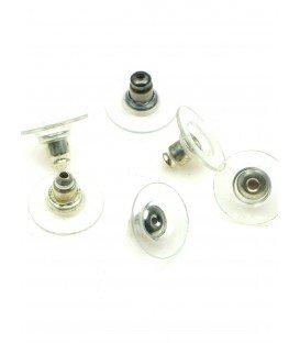 Zilverkleur oorbellen stoppertjes met plastic ring