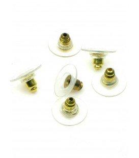 Goudkleur oorbellen stoppertjes met plastic ring