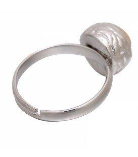 Mooie zilverkleurige ring met bruine steen