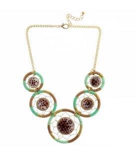 Bruin,groene halsketting met ronde stenen
