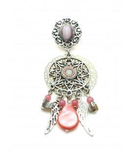 Mooie statement oorclips met roze kralen en bedels