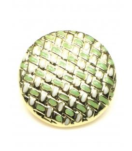Goudkleurige ronde oorclips met groene inkleuring