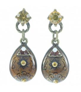 Mooie geel bruine oorbellen met strass steentjes