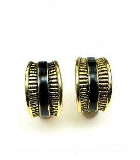 Goudkleurige halfronde oorclips met zwarte band