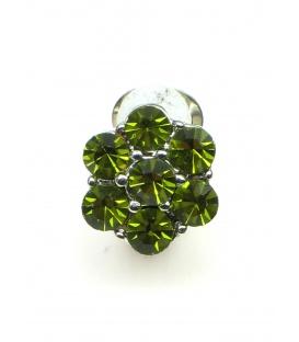 Groene strass steentjes (Swarovski) oorclips