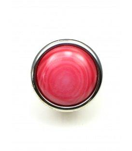 Roze ronde oorclips met zilverkleurige rand