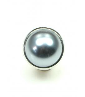Grijze oorclips in zilverkleurige zetting