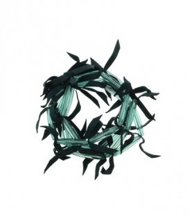 Groene kralen armband met echte leren franjes