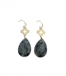 Donkergrijze oorbellen met druppelvormige steen