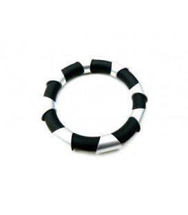 Tjonge Jonge zilverkleurig met zwarte armband