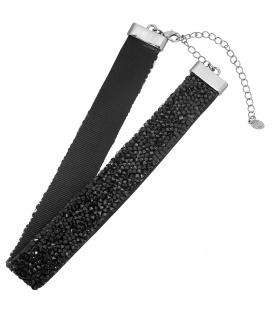 Mooie trendy zwarte choker met zwarte strass steentjes
