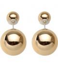 Dubbele glanzend goud kleurige parel oorbellen