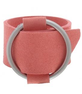 Armband van breed roze kunstleer met metalen riemgesp