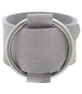 Armband van breed grijs kunstleer met metalen riemgesp