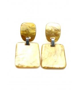 Bruine oorclips met vierkante hanger