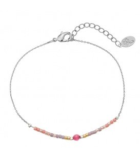 Roze trendy gold plated armband