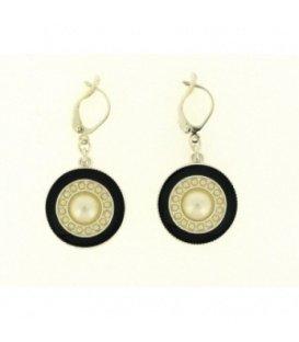 Beige ronde oorbellen met zwarte rand
