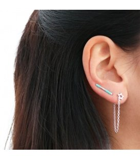 Roze trendy gold plated earlines met kraaltjes