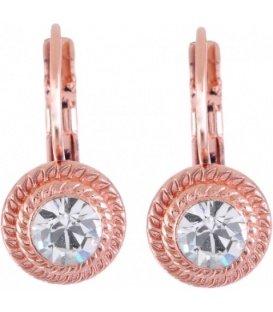 Rosekleurig oorbellen met swarovski steen