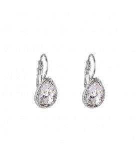Zilverkleurige oorhangers met een heldere steen