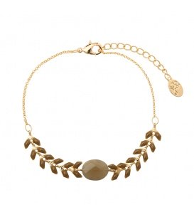 Grijze trendy gold plated armband
