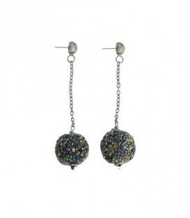 Zwarte gekleurde oorbellen met bal