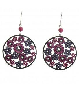 Rood / paarse oorbellen met bloemetjes