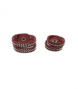 Oudroze scarvelet, sjaal riem, met twee rijen strass steentjes (set van 2)