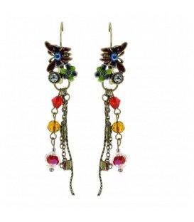 Mooie lange oorbellen met verschillende kleur kralen
